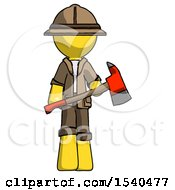 Yellow Explorer Ranger Man Holding Red Fire Fighters Ax