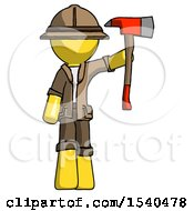 Yellow Explorer Ranger Man Holding Up Red Firefighters Ax