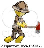Yellow Explorer Ranger Man With Ax Hitting Striking Or Chopping
