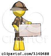 Yellow Explorer Ranger Man Presenting Large Envelope
