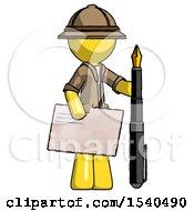 Yellow Explorer Ranger Man Holding Large Envelope And Calligraphy Pen