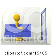 Yellow Figure Carrying A Blue Door Towards A Door Frame Symbolizing Moving Or Home Repairs Clipart Illustration Image by 3poD