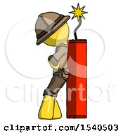 Yellow Explorer Ranger Man Leaning Against Dynimate Large Stick Ready To Blow