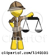 Yellow Explorer Ranger Man Holding Scales Of Justice