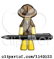 Yellow Explorer Ranger Man Weightlifting A Giant Pen