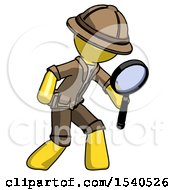 Yellow Explorer Ranger Man Inspecting With Large Magnifying Glass Right