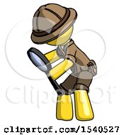 Yellow Explorer Ranger Man Inspecting With Large Magnifying Glass Left
