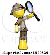 Yellow Explorer Ranger Man Inspecting With Large Magnifying Glass Facing Up