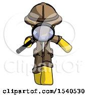Yellow Explorer Ranger Man Looking Down Through Magnifying Glass