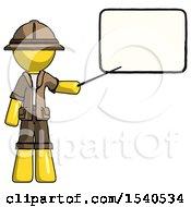 Yellow Explorer Ranger Man Giving Presentation In Front Of Dry Erase Board