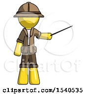 Yellow Explorer Ranger Man Teacher Or Conductor With Stick Or Baton Directing