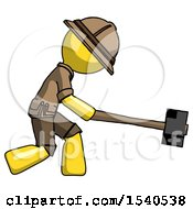 Yellow Explorer Ranger Man Hitting With Sledgehammer Or Smashing Something