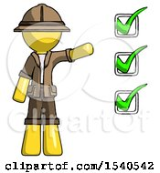 Yellow Explorer Ranger Man Standing By List Of Checkmarks