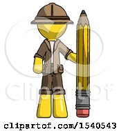 Yellow Explorer Ranger Man With Large Pencil Standing Ready To Write
