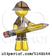 Yellow Explorer Ranger Man Writer Or Blogger Holding Large Pencil