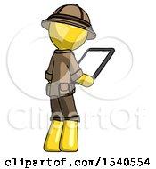 Yellow Explorer Ranger Man Looking At Tablet Device Computer Facing Away