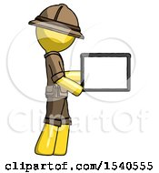 Yellow Explorer Ranger Man Show Tablet Device Computer To Viewer Blank Area