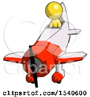 Yellow Design Mascot Man In Geebee Stunt Plane Descending Front Angle View