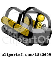Yellow Design Mascot Woman Driving Amphibious Tracked Vehicle Top Angle View