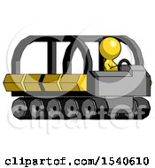 Yellow Design Mascot Man Driving Amphibious Tracked Vehicle Side Angle View