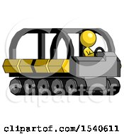 Yellow Design Mascot Woman Driving Amphibious Tracked Vehicle Side Angle View