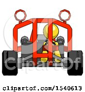 Yellow Design Mascot Woman Riding Sports Buggy Front View
