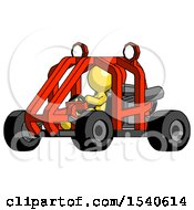 Yellow Design Mascot Man Riding Sports Buggy Side Angle View