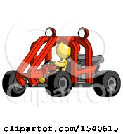Yellow Design Mascot Woman Riding Sports Buggy Side Angle View