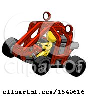 Yellow Design Mascot Man Riding Sports Buggy Side Top Angle View