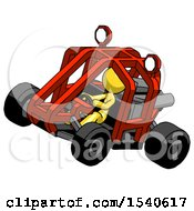 Yellow Design Mascot Woman Riding Sports Buggy Side Top Angle View