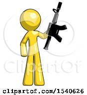 Yellow Design Mascot Man Holding Automatic Gun