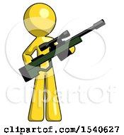 Yellow Design Mascot Man Holding Sniper Rifle Gun