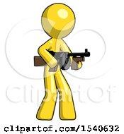 Yellow Design Mascot Man Tommy Gun Gangster Shooting Pose