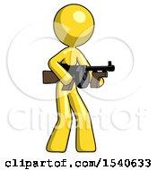 Yellow Design Mascot Woman Tommy Gun Gangster Shooting Pose