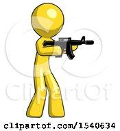 Yellow Design Mascot Man Shooting Automatic Assault Weapon