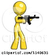 Yellow Design Mascot Woman Shooting Automatic Assault Weapon