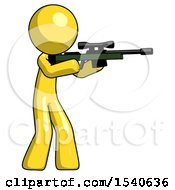 Yellow Design Mascot Man Shooting Sniper Rifle