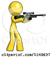Yellow Design Mascot Woman Shooting Sniper Rifle
