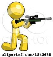 Yellow Design Mascot Man Kneeling Shooting Sniper Rifle
