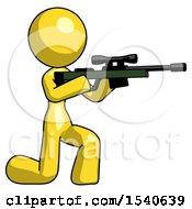 Yellow Design Mascot Woman Kneeling Shooting Sniper Rifle