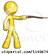 Yellow Design Mascot Man Pointing With Hiking Stick