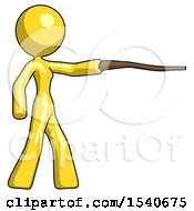 Yellow Design Mascot Woman Pointing With Hiking Stick
