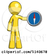 Yellow Design Mascot Man Holding A Large Compass