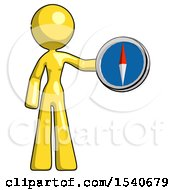 Yellow Design Mascot Woman Holding A Large Compass
