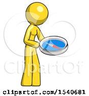 Yellow Design Mascot Woman Looking At Large Compass Facing Right