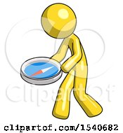 Yellow Design Mascot Man Walking With Large Compass