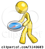 Yellow Design Mascot Woman Walking With Large Compass
