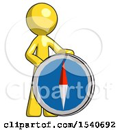 Yellow Design Mascot Man Standing Beside Large Compass