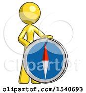 Yellow Design Mascot Woman Standing Beside Large Compass