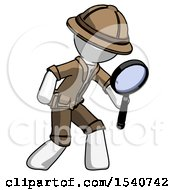 White Explorer Ranger Man Inspecting With Large Magnifying Glass Right